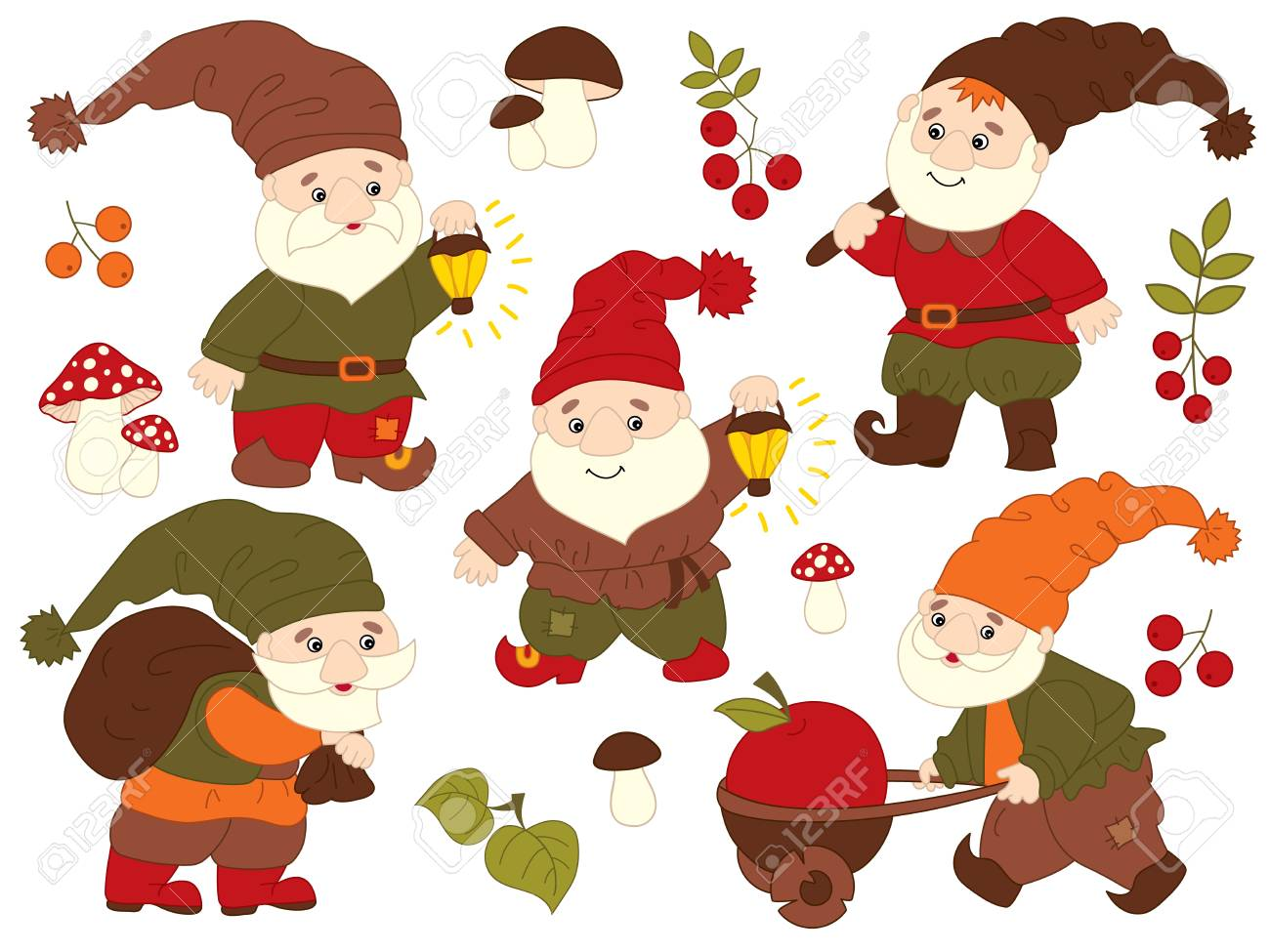Vector set of cute cartoon gnomes working. Vector garden gnome