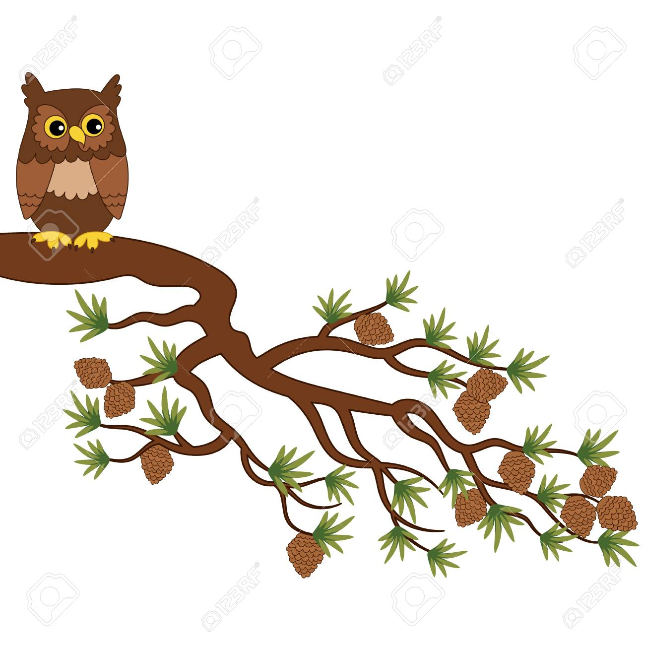 Vector Cute Cartoon Owl Sitting On Pine Tree Branch Royalty Free Cliparts Vectors And Stock Illustration Image 88310399 Choose from 160+ cartoon owl graphic resources and download in the form of png, eps, ai or psd. vector cute cartoon owl sitting on pine tree branch