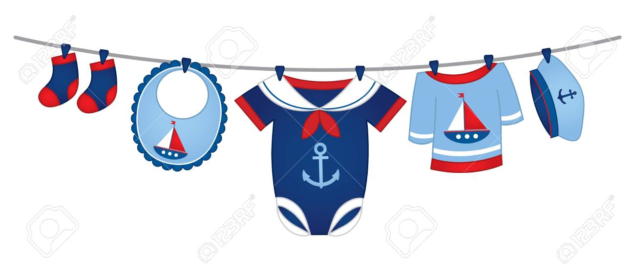 vector baby clothes in nautical style hanging on the line royalty