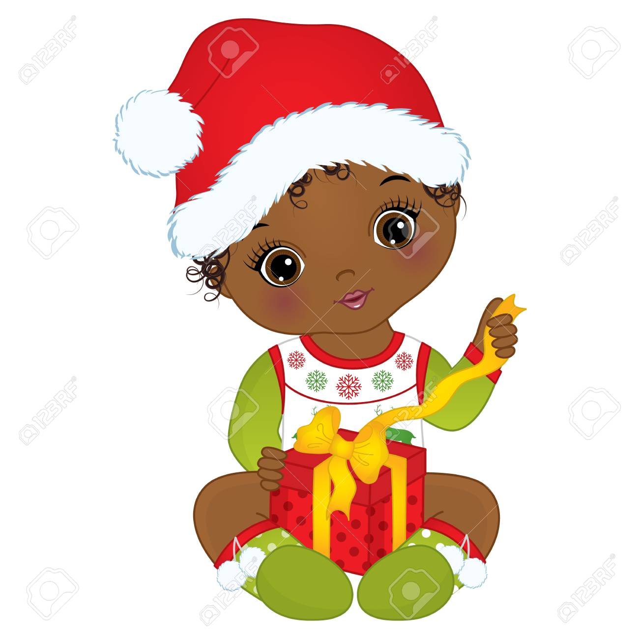 9cf3e263dbed Vector cute little girl wearing Christmas clothes. Stock Vector - 88465444