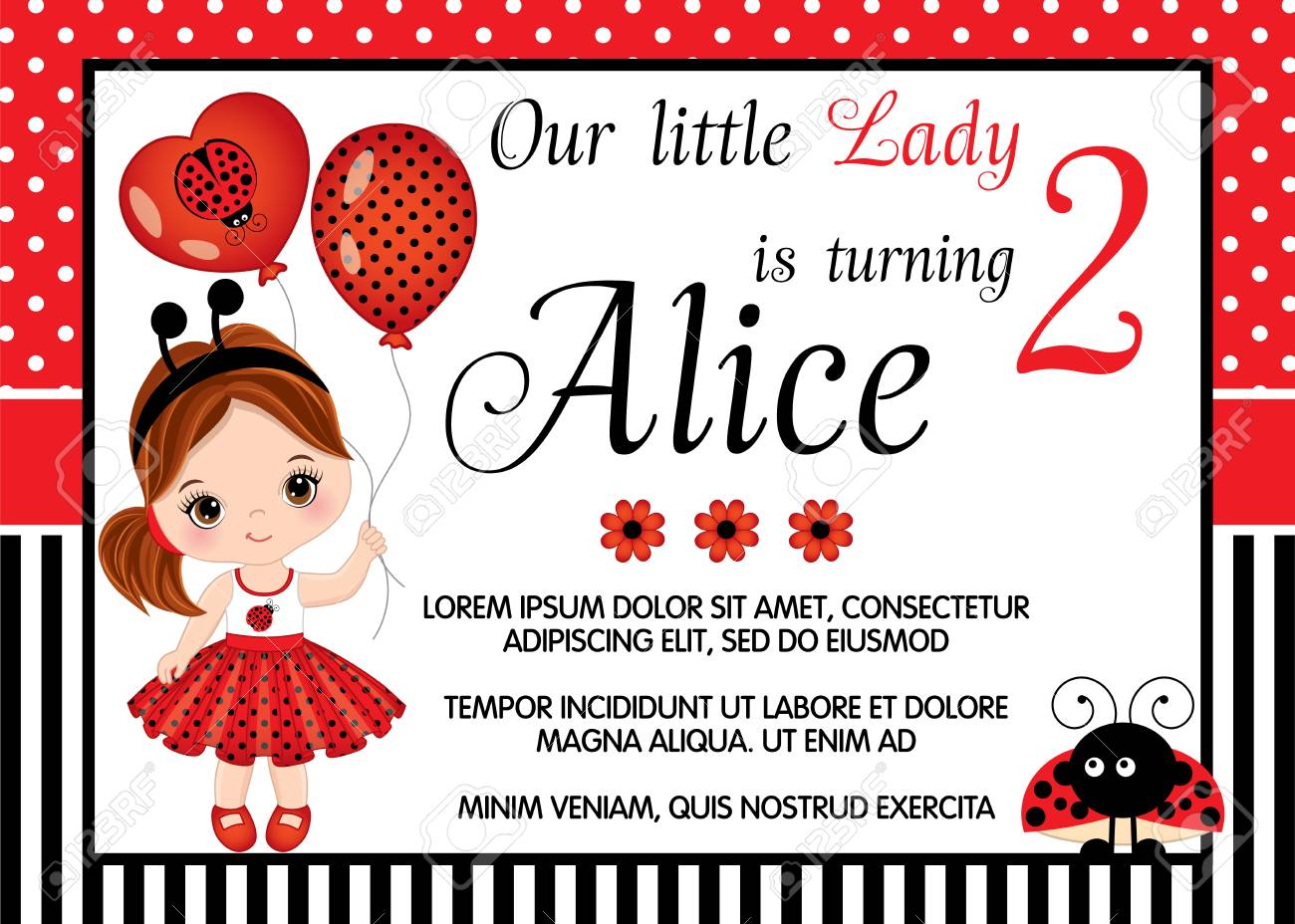 Vector Card Template With Cute Little Girl Dressed As Ladybug
