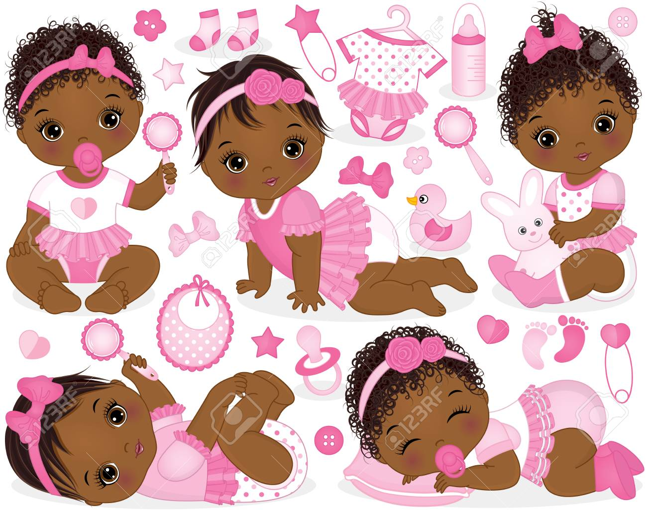 Vector set with cute African American baby girls, toys, clothes, decorations and various accessories. - 88893183