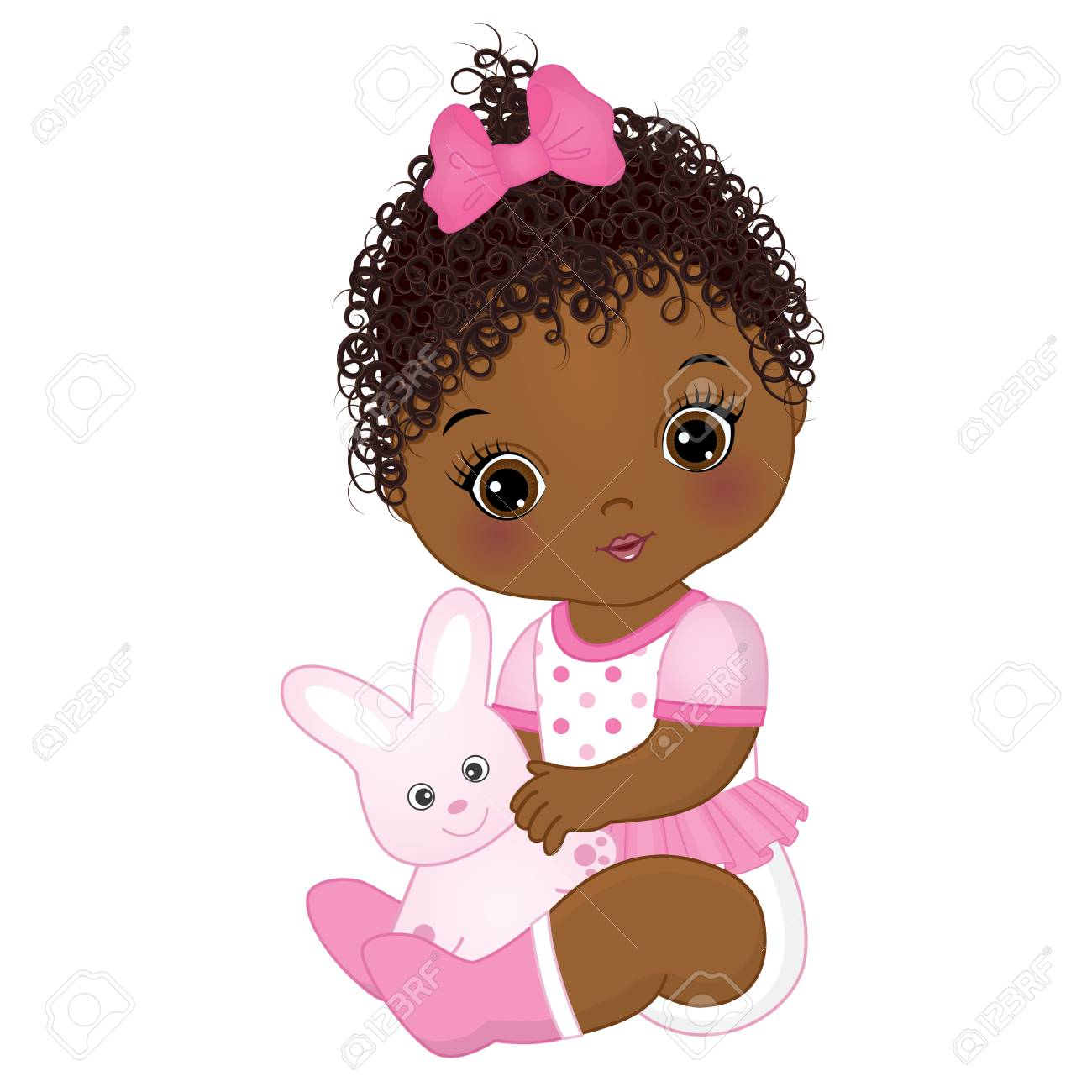 Vector cute African American baby girl with toy bunny. Vector baby girl. African American baby girl vector illustration. - 88893474