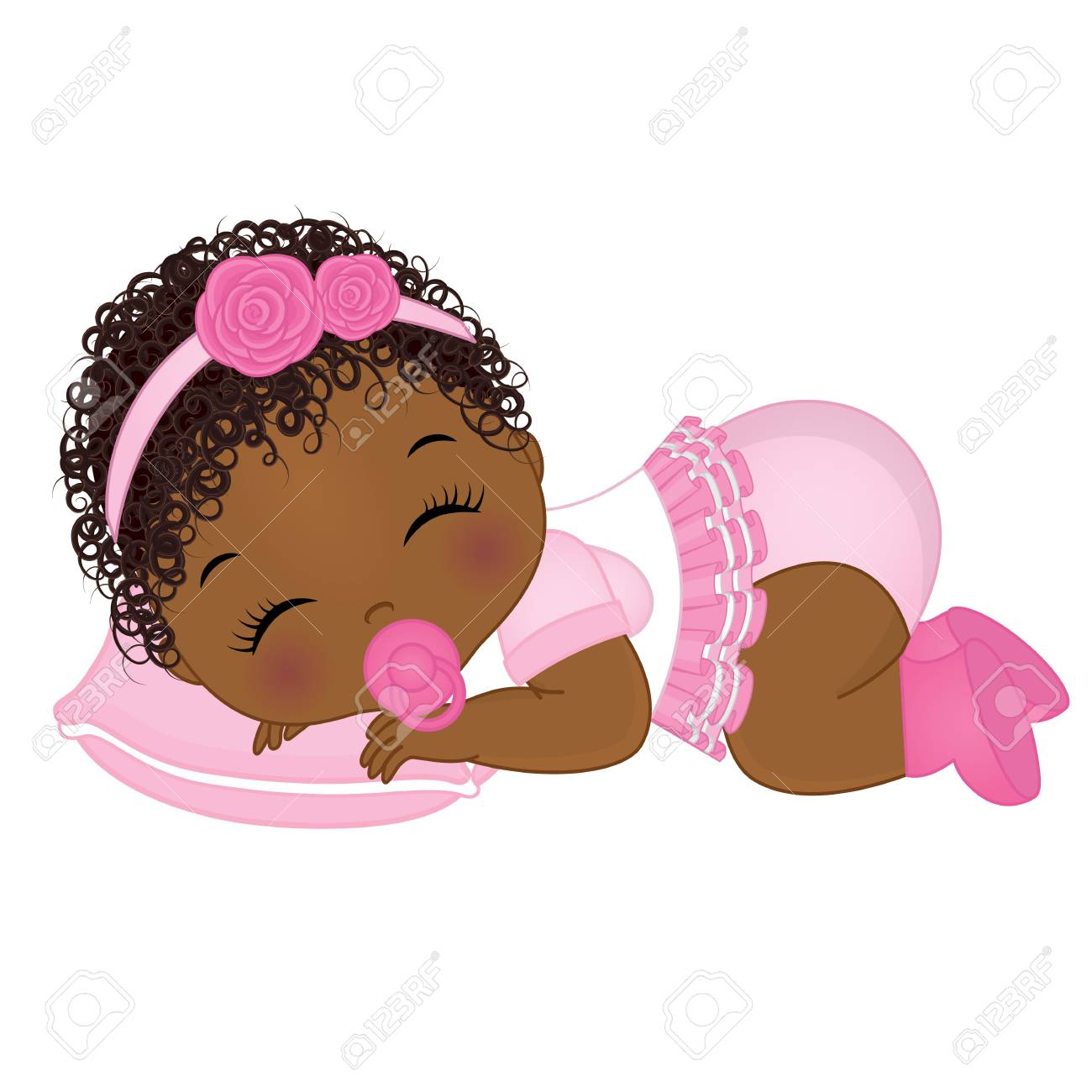 vector cute african american baby girl sleeping vector baby rh 123rf com baby girl clipart images clipart baby girl shower