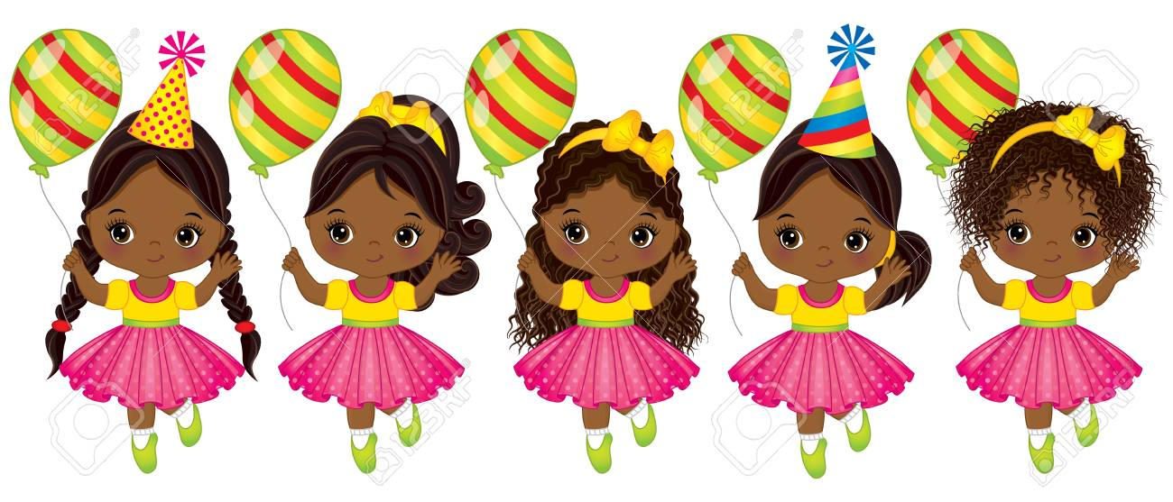 Vector cute little African American girls with balloons. Vector..