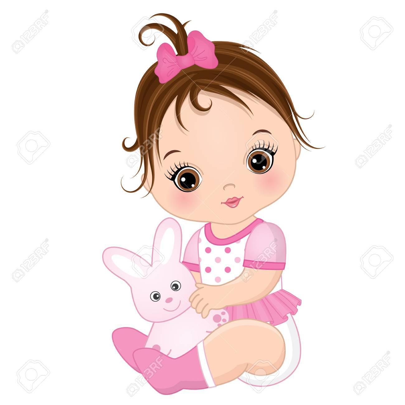 vector cute baby girl with toy bunny vector baby girl baby rh 123rf com girls victorian hat girls victorian nightgowns with gowns
