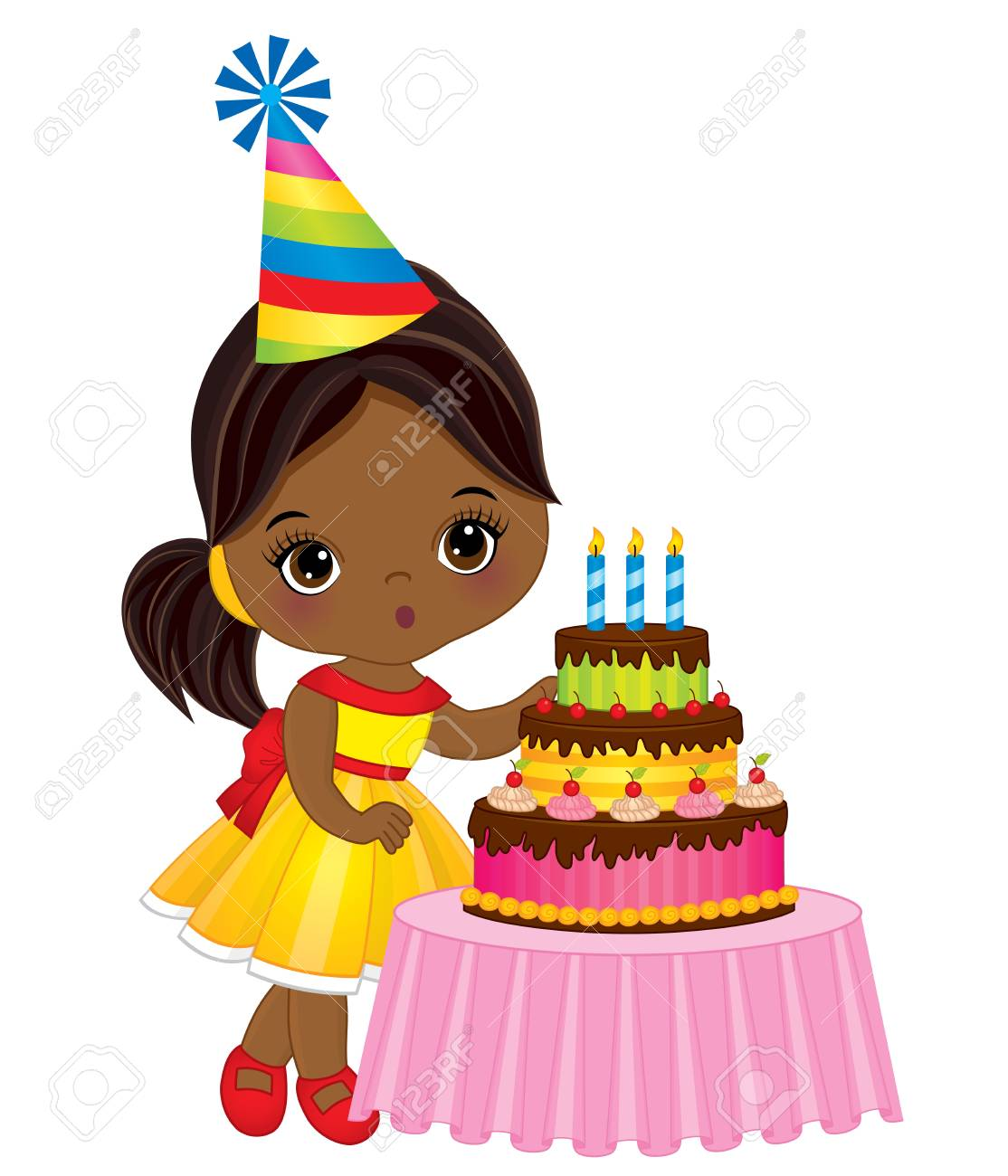 Astounding Illustration Vector Of Cute Little African American Girl Blowing Personalised Birthday Cards Paralily Jamesorg