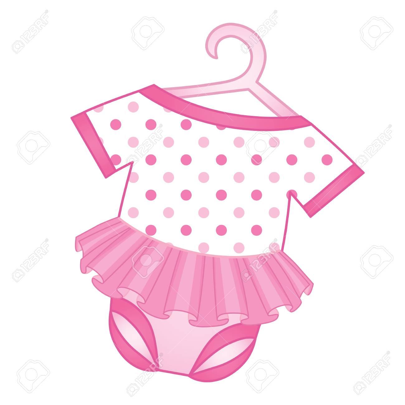 9693f2570 Foto de archivo - Mono de vector para niña. Mameluco del vector para la niña.  Ilustración de vector de mono de niña bebé.
