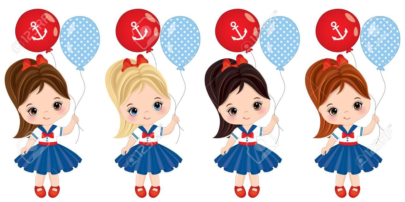 98326e490 Vector niñas lindas con globos de colores. Vector niñas con varios colores  de pelo vestidos de estilo náutico. Vector niña. Niñas con globos ...