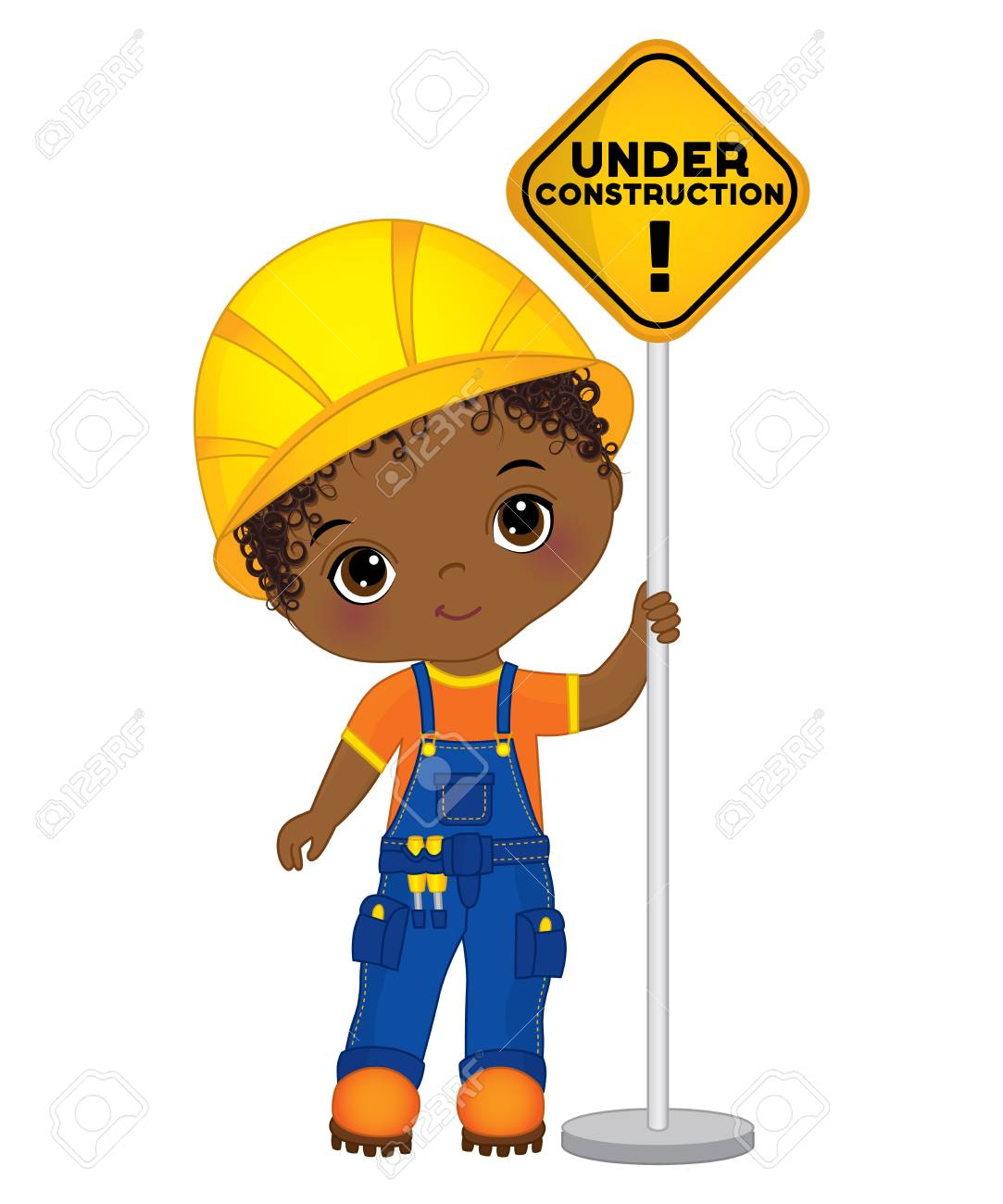Vector Cute Little African American Boy Holding The Sign - Under.. Royalty  Free Cliparts, Vectors, And Stock Illustration. Image 89113829.