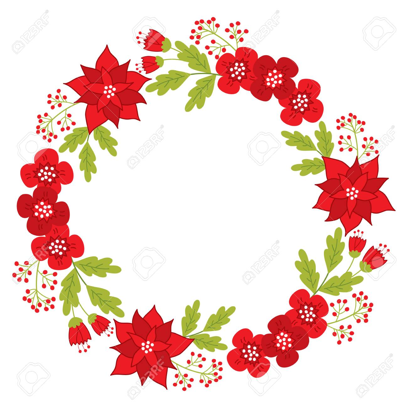 Vector   Vector Christmas Wreath With Red Poinsettia, Red Berries, Flowers  And Leaves. Vector Christmas Wreath. Christmas Floral Wreath Vector  Illustration
