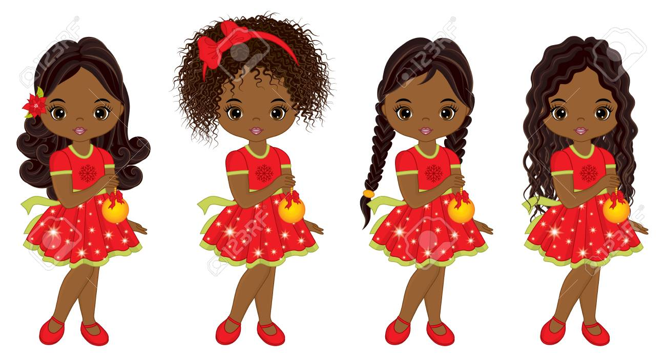 Christmas Hairstyles For Black Girls.Vector Cute Little African American Girls With Christmas Balls