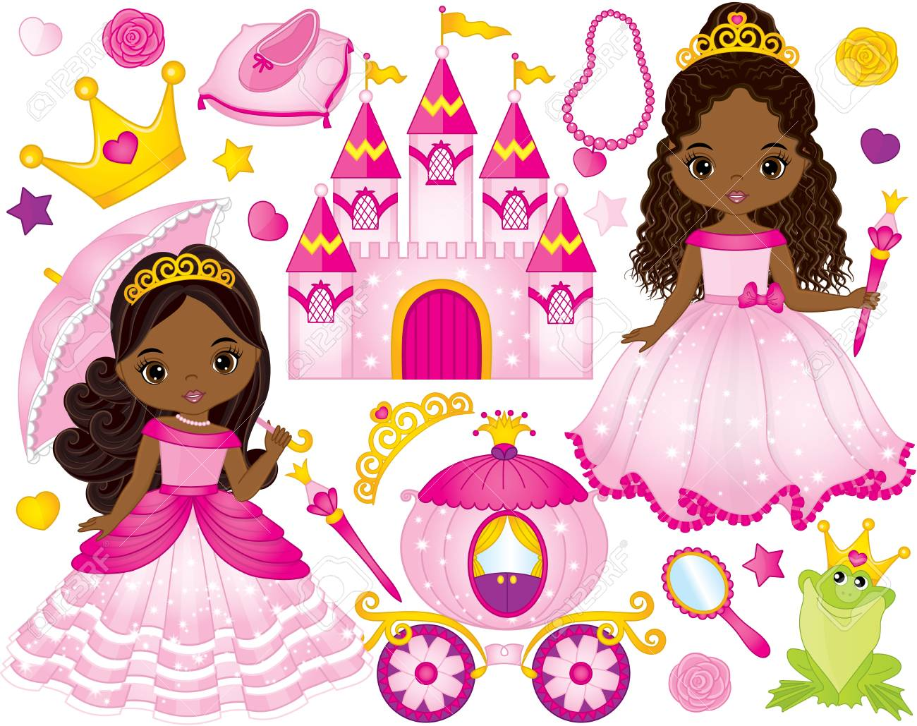 Vector set of beautiful African American princess, castle, carriage, frog, crown and accessories. Vector African American princess. African American princess vector illustration - 89412283