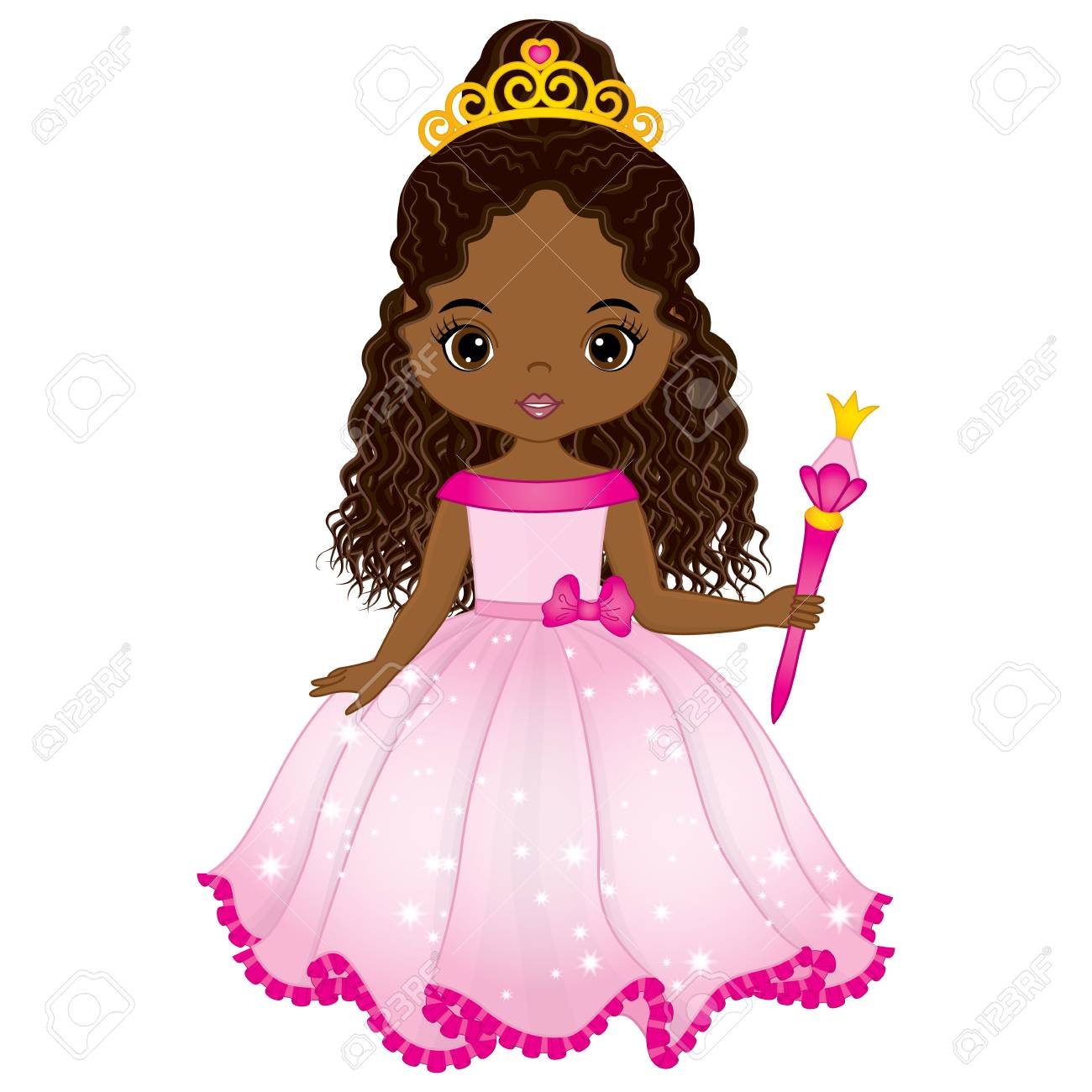 Vector beautiful African American princess in pink dress with magic wand. Vector cute little African American girl. African American princess vector illustration - 89412351