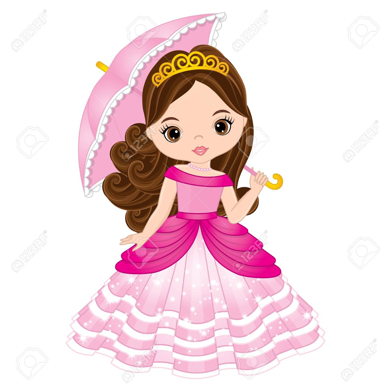Vector beautiful princess in pink dress holding umbrella. Vector..