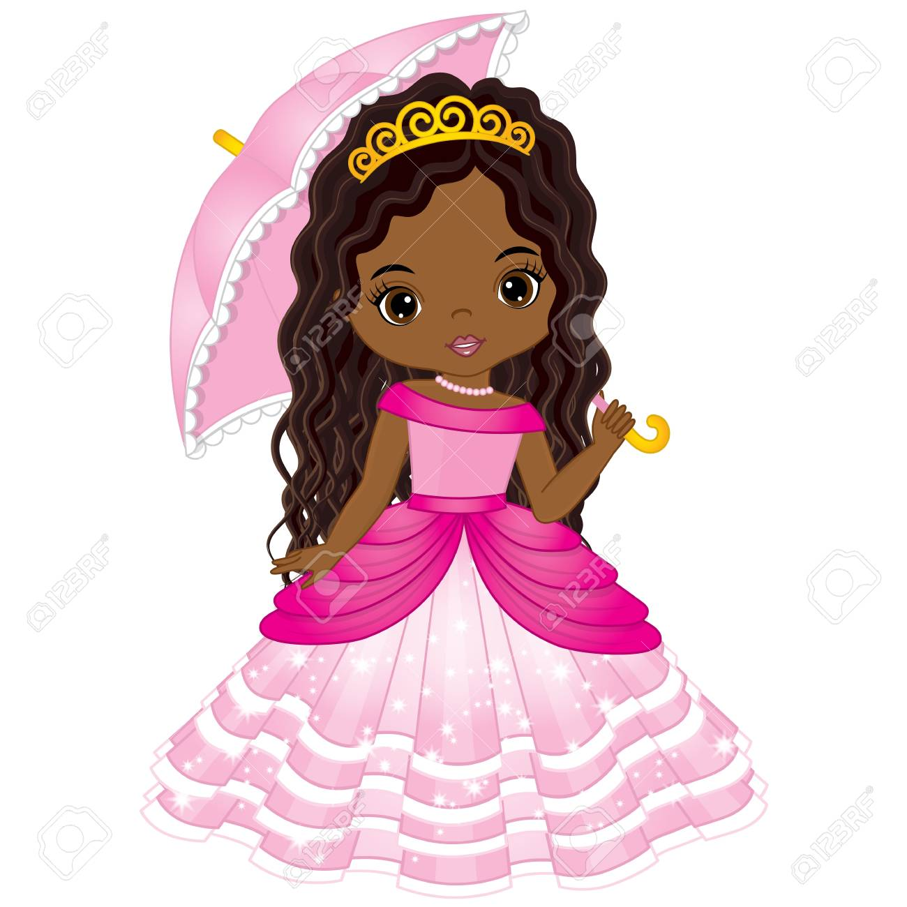 Vector beautiful African American princess in pink dress holding umbrella. Vector cute little African American girl. African American princess vector illustration - 89412354