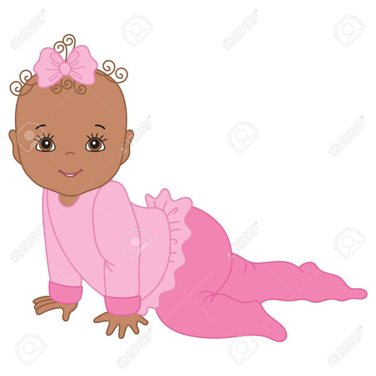 vector cute african american baby girl crawling vector baby rh 123rf com vector baby silhouette vector baby shower