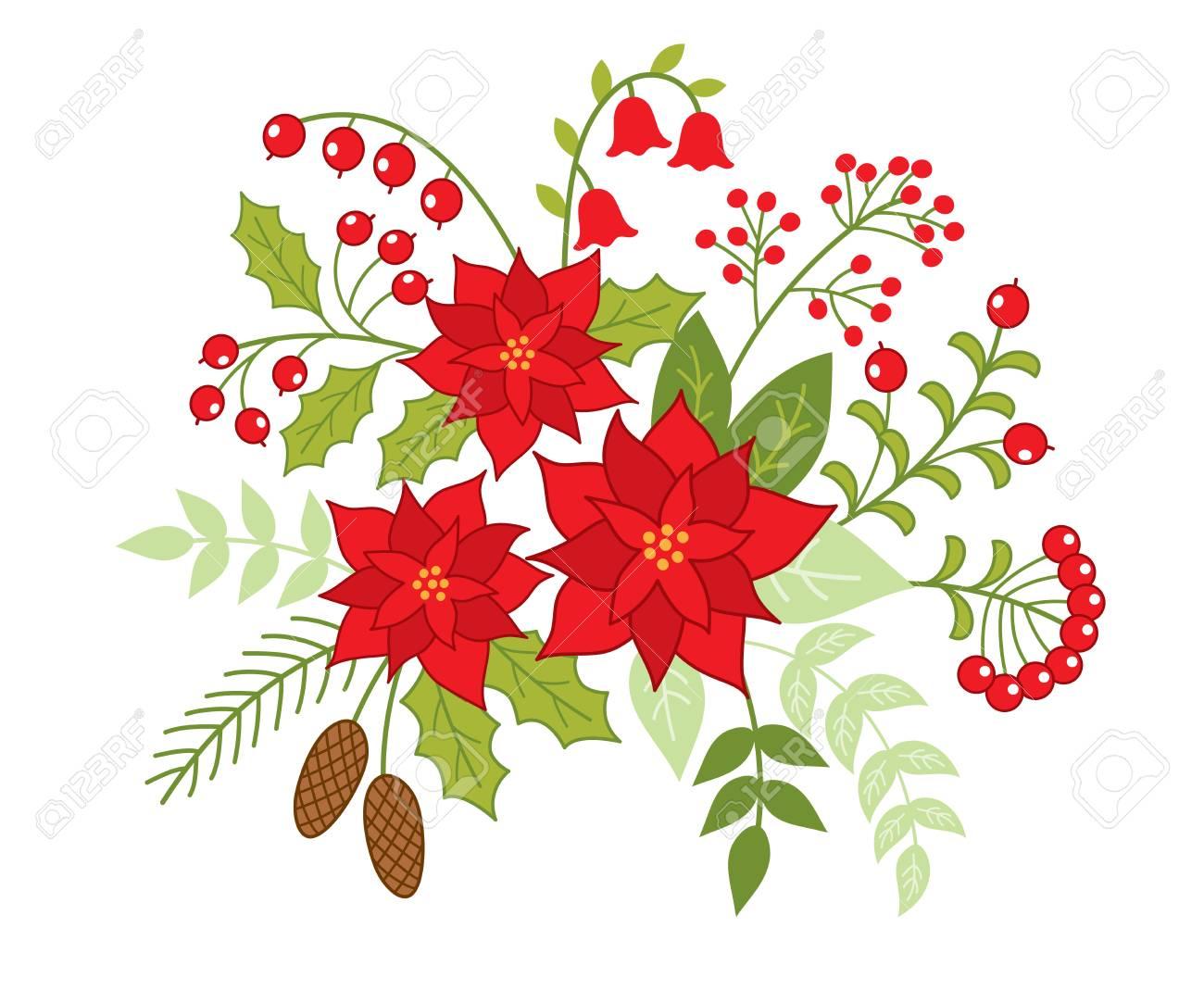 Bouquet De Noel Avec Du Houx bouquet floral de noël vector avec poinsettia, baies et houx