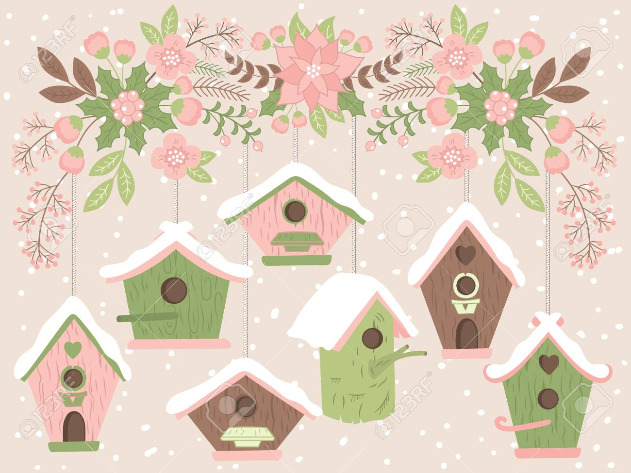 Christmas Birdhouses.Vector Birdhouses Hanging From Floral Christmas Branch Vector
