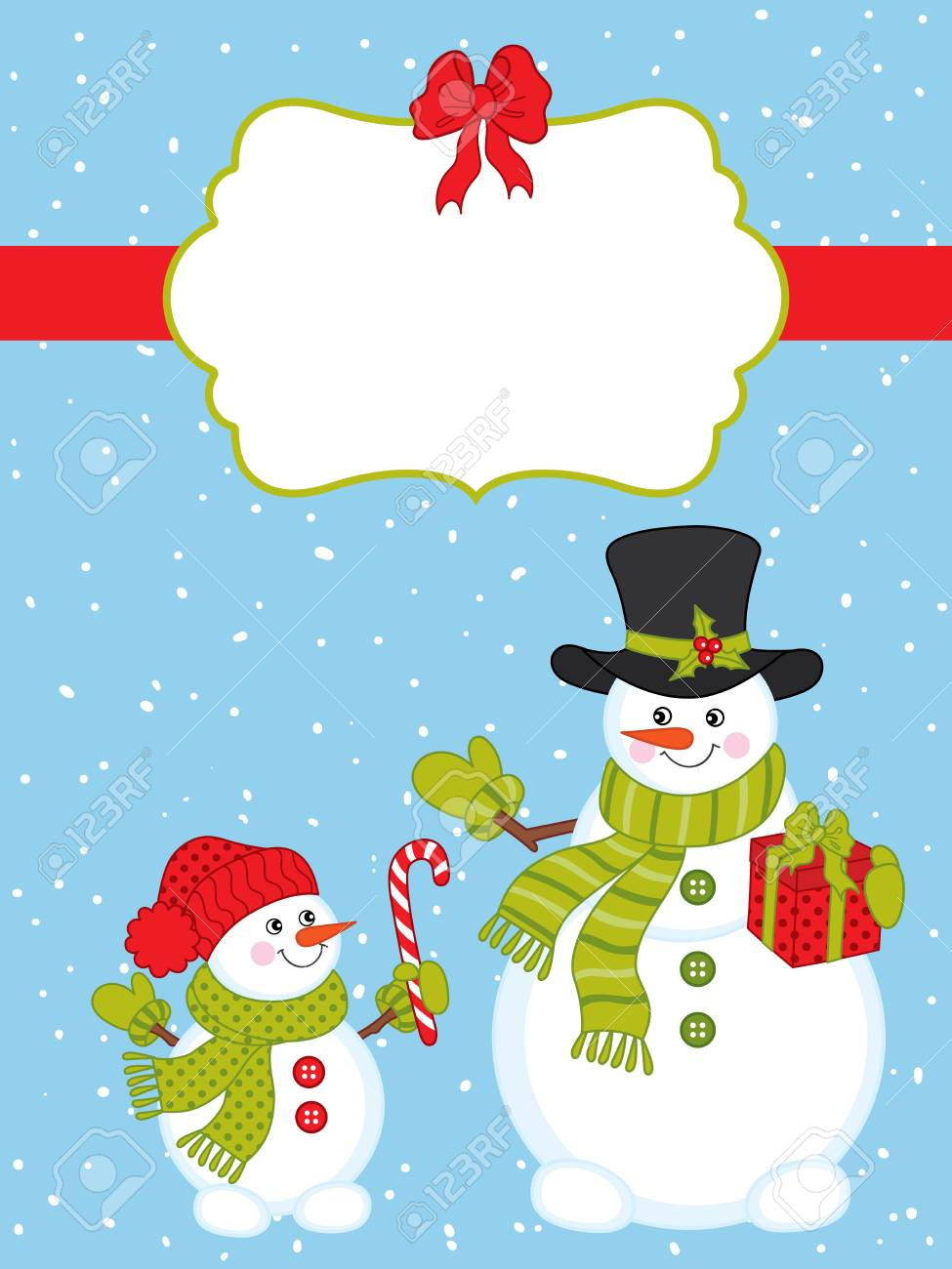vector vector christmas and new year card template with cute snowmen on snow background christmas card template with space for your text