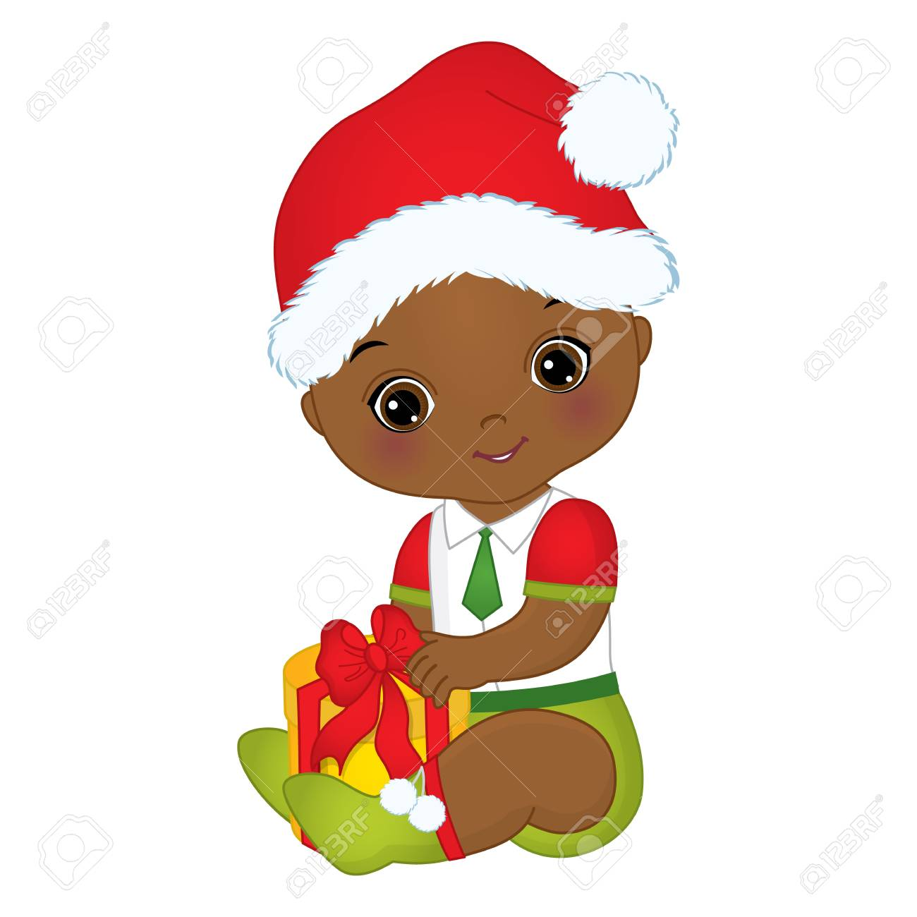 Vector Cute Little African American Baby Boy Wearing Christmas ...