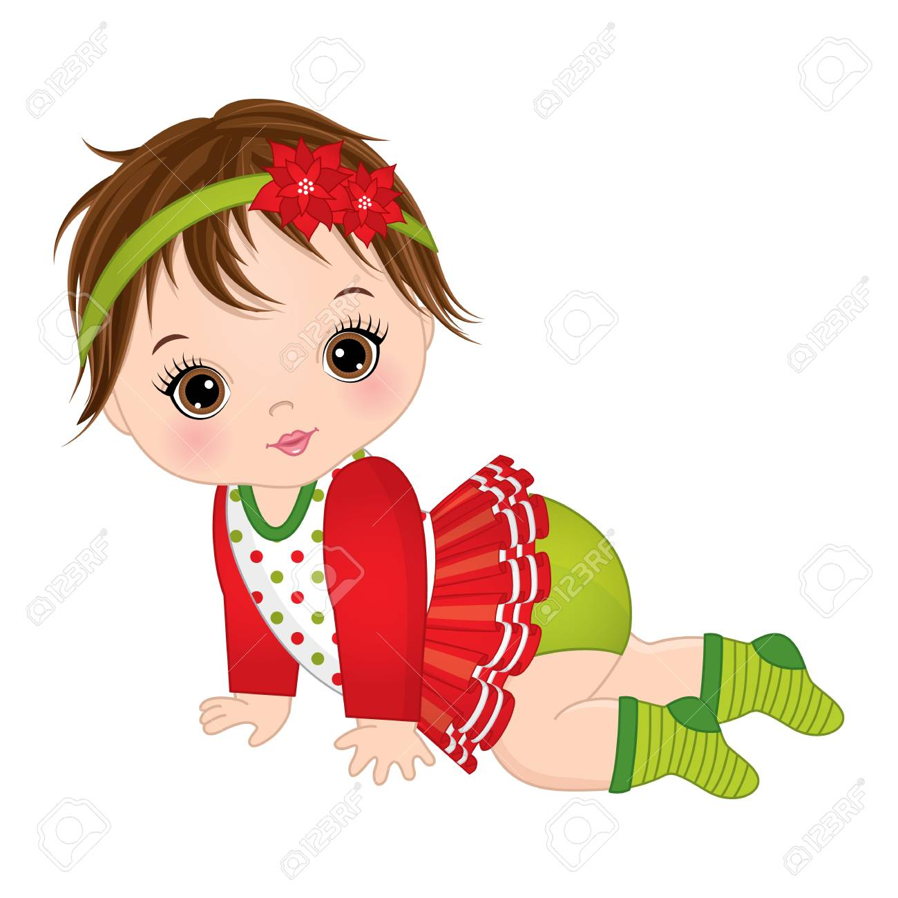 63550ad1184e Vector - Vector cute little baby girl wearing Christmas clothes. Vector baby  girl. Vector Christmas baby girl. Baby girl vector illustration