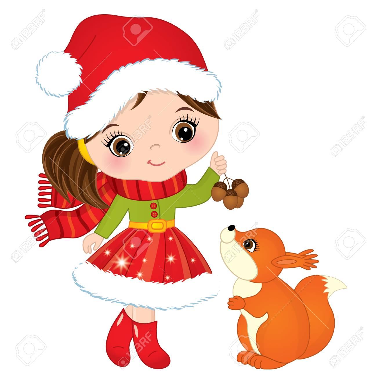 vector cute little girl with squirrel vector christmas girl rh 123rf com