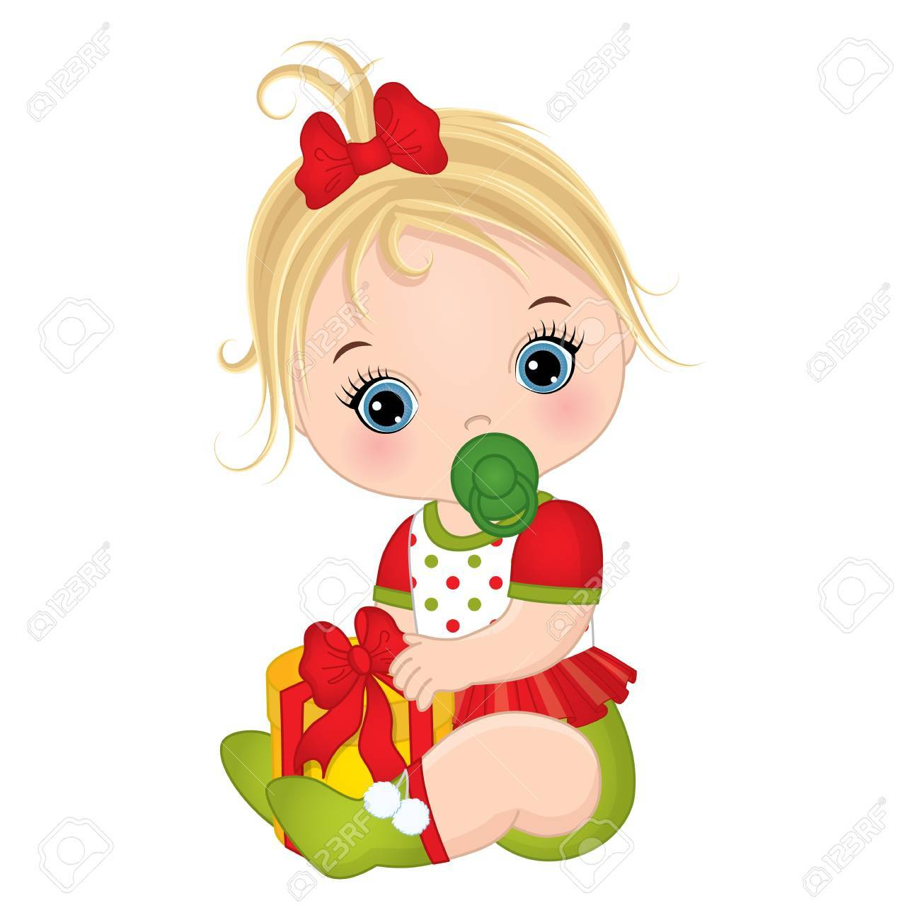 ec60c479e7ed Vector - Vector cute little baby girl wearing Christmas clothes. Vector baby  girl. Vector Christmas baby girl with gift box. Baby girl vector  illustration