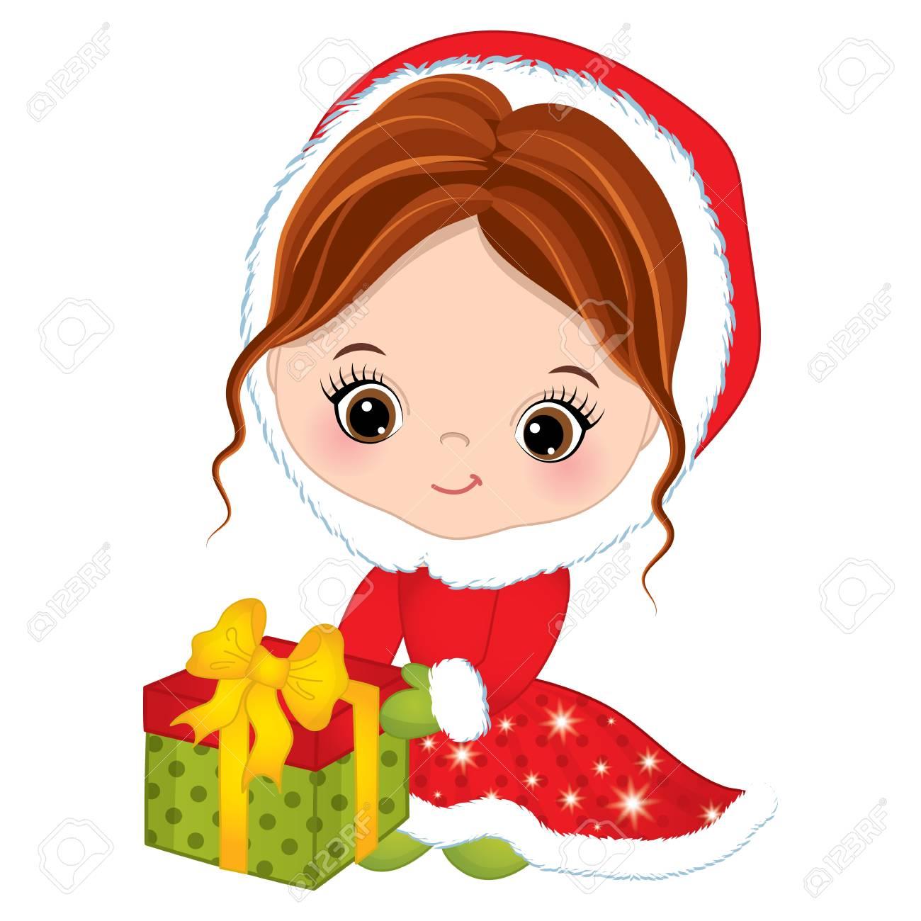 Vector Cute Little Girl With Christmas Gift Box. Vector Christmas ...