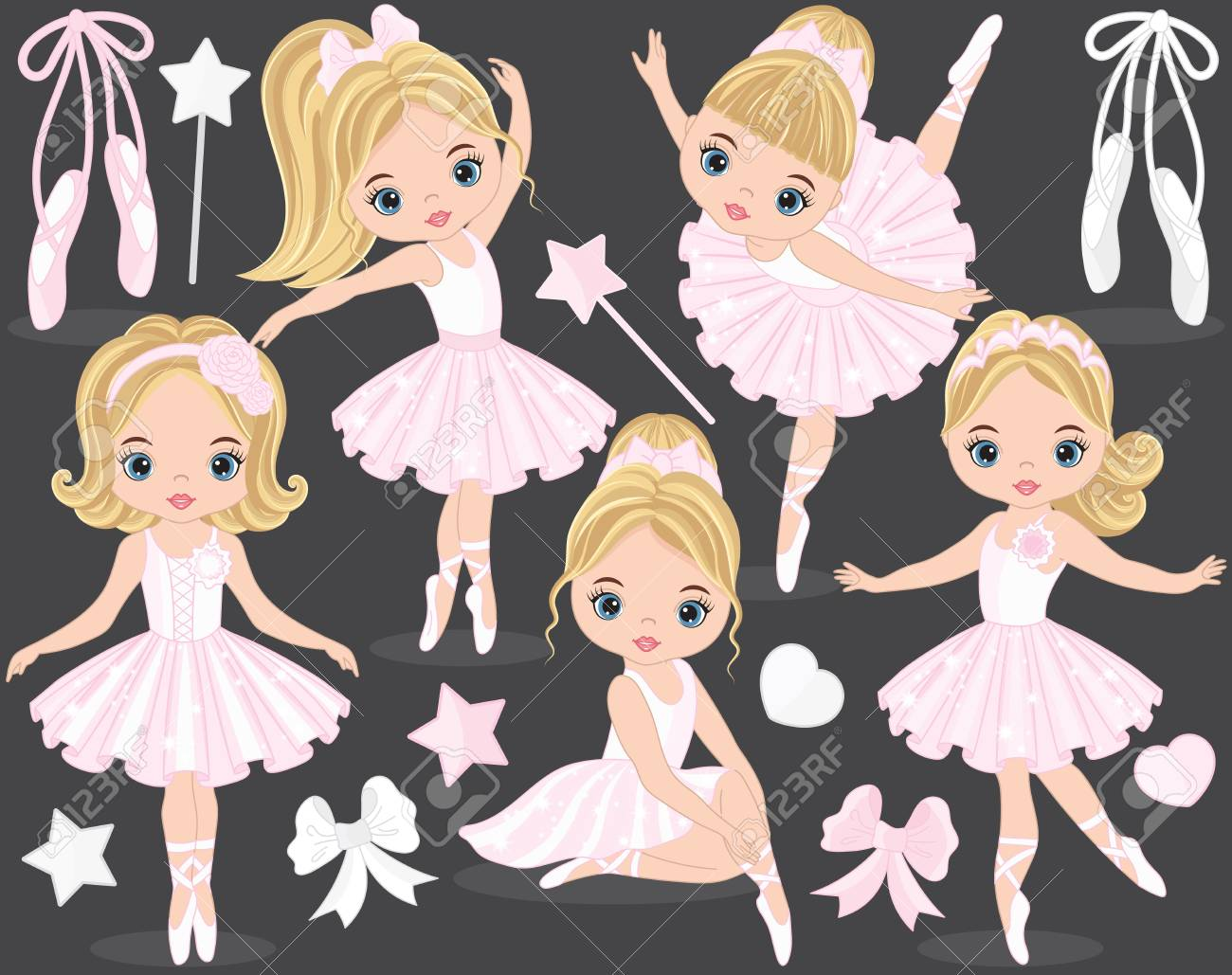 b96856fc8 Vector Set With Cute Little Ballerinas