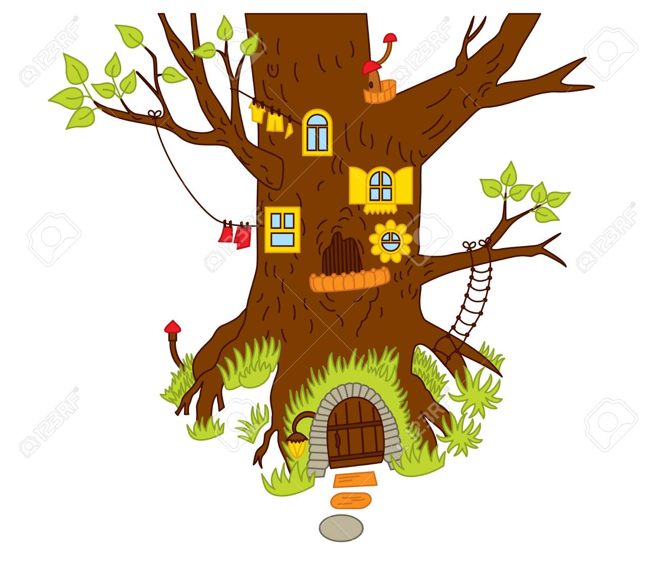 Vector Magic Tree House In The Forest Vector Magic House For