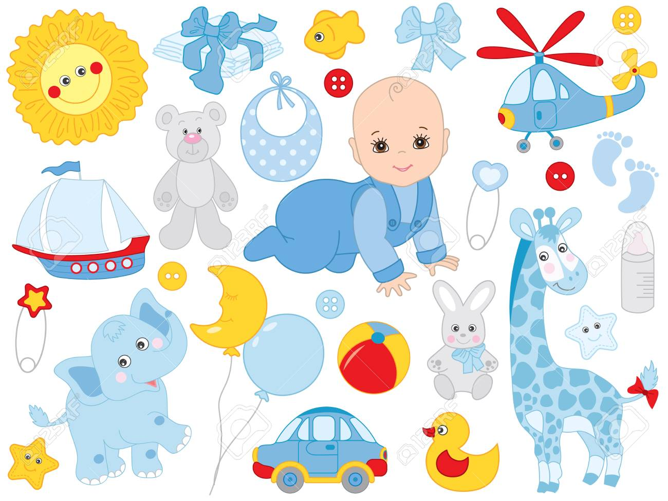 Vector Baby Boy Set Set Includes Cute Little Baby Boy Accessories