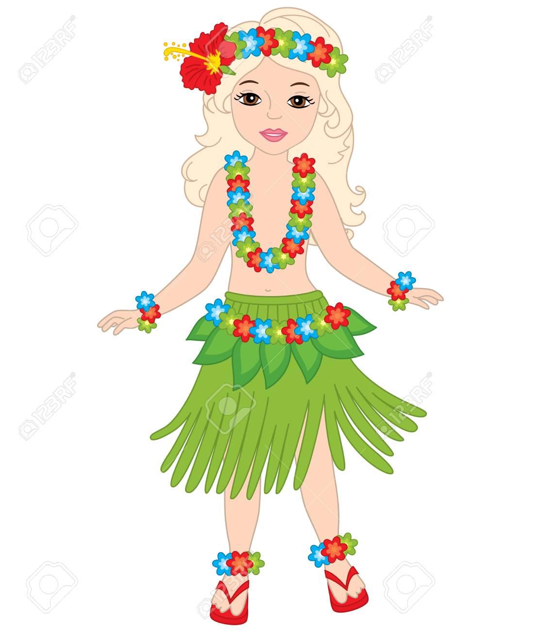 8980100410b Vector beautiful young girl in in traditional Hawaiian costume..