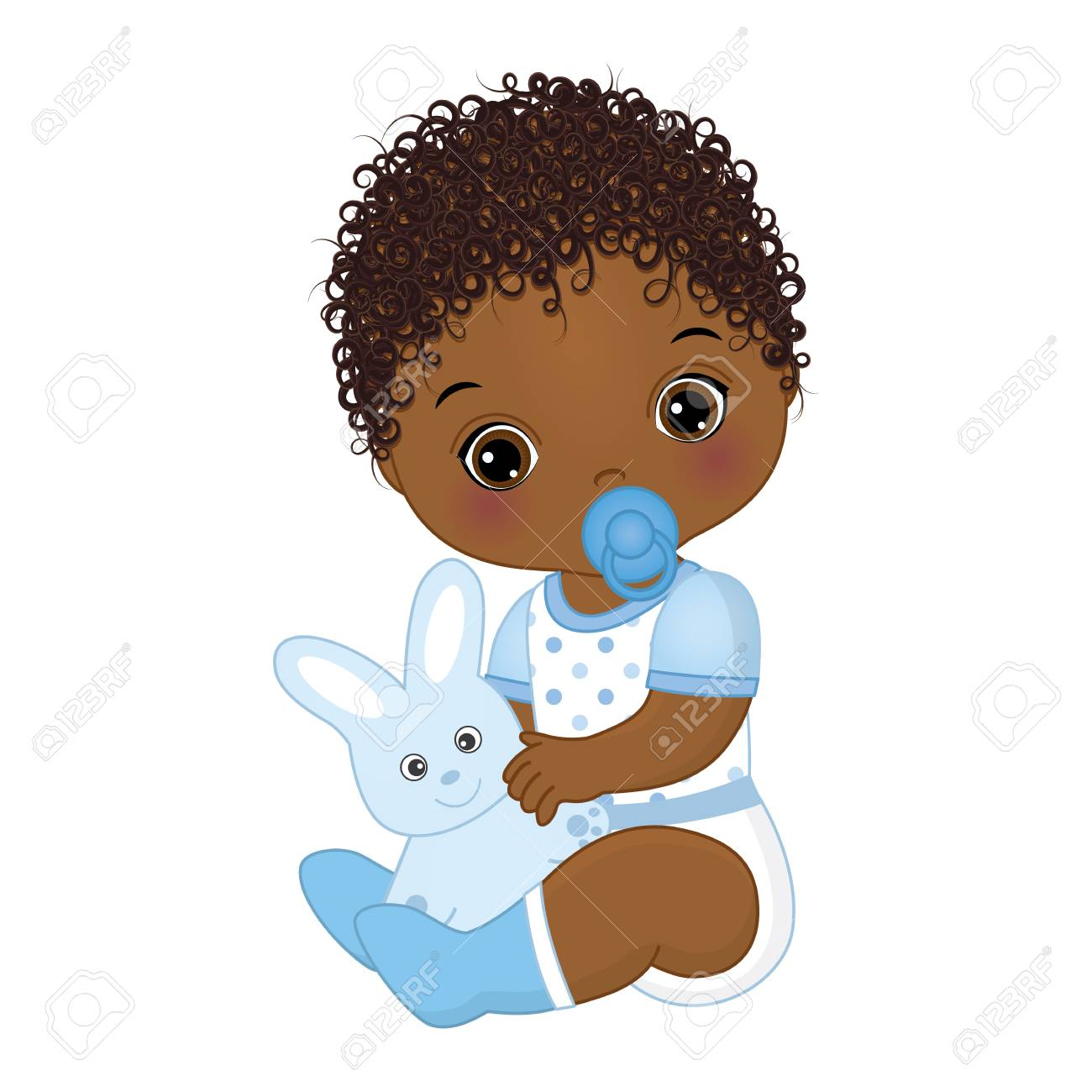 Vector cute African American baby boy with toy bunny. Vector baby boy with dummy. Vector baby boy shower. African American baby boy vector illustration - 102988398