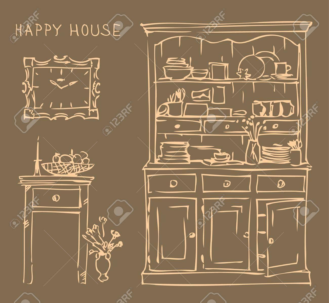 Interior De La Vendimia De La Cocina Antigua. Ilustración Del Vector ...