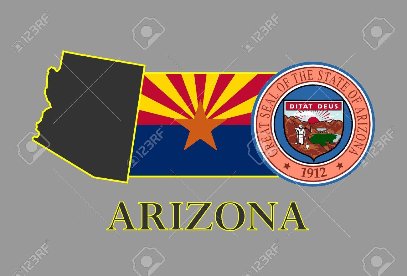 Arizona state map, flag, seal and name. Stock Vector - 10737453