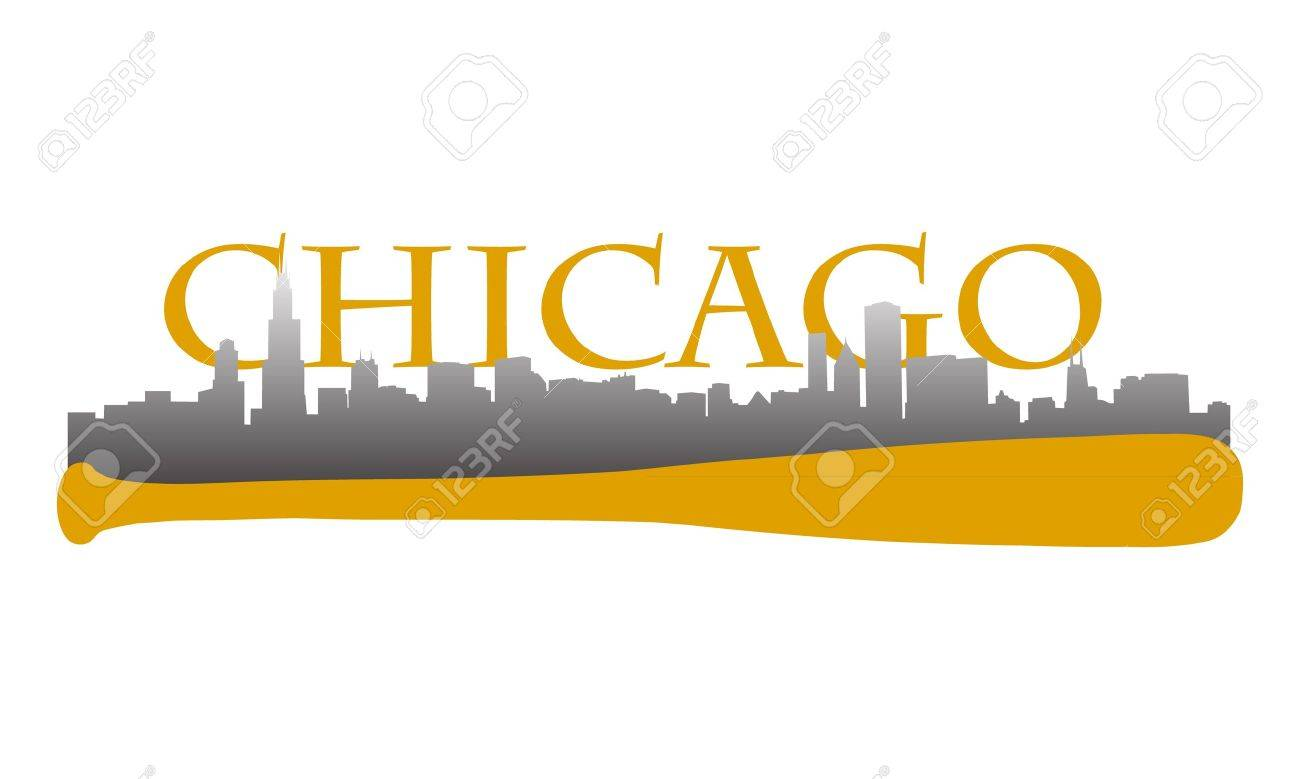 Chicago high rise buildings skyline with baseball bat Stock Vector - 11006509