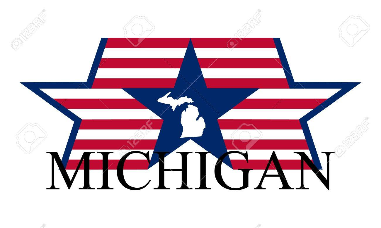 Michigan state map, flag and name. Stock Vector - 12288303
