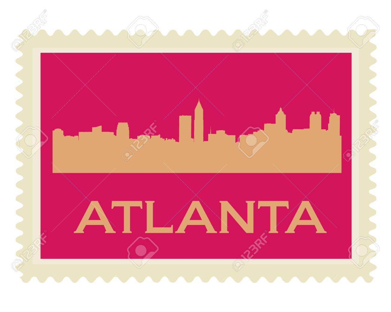 Atlanta high-rise buildings skyline stamp Stock Vector - 12486336