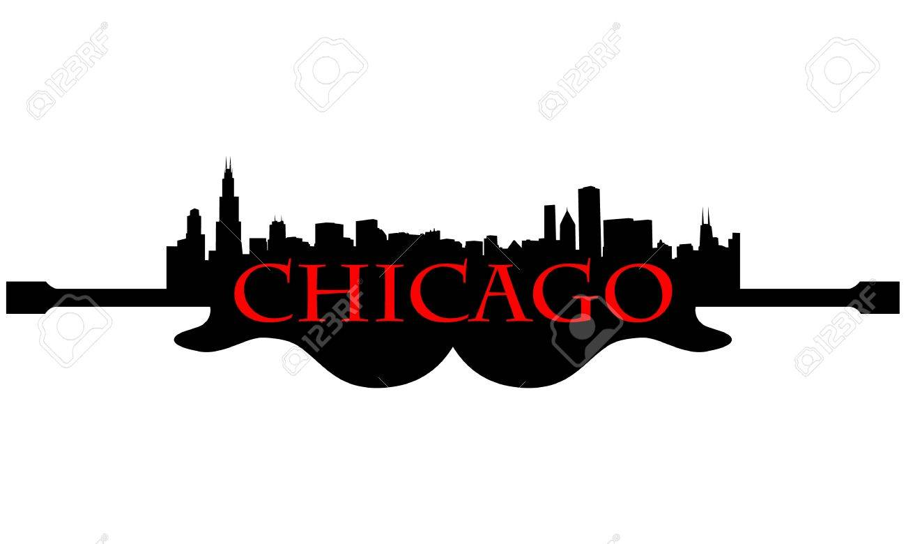 City of Chicago high-rise buildings skyline with guitar Stock Vector - 13626135