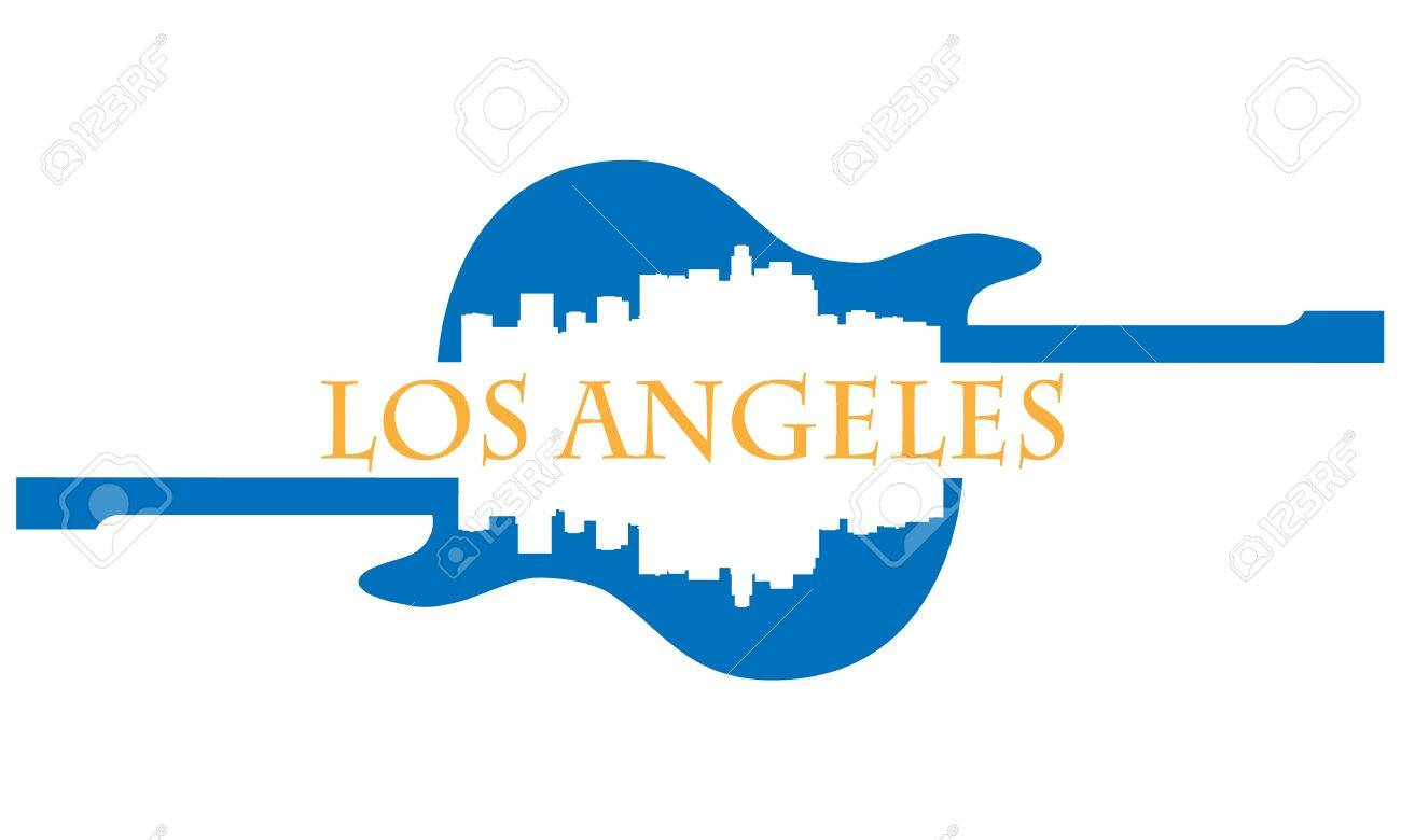 City of Los Angeles high-rise buildings skyline with guitar Stock Vector - 13626152