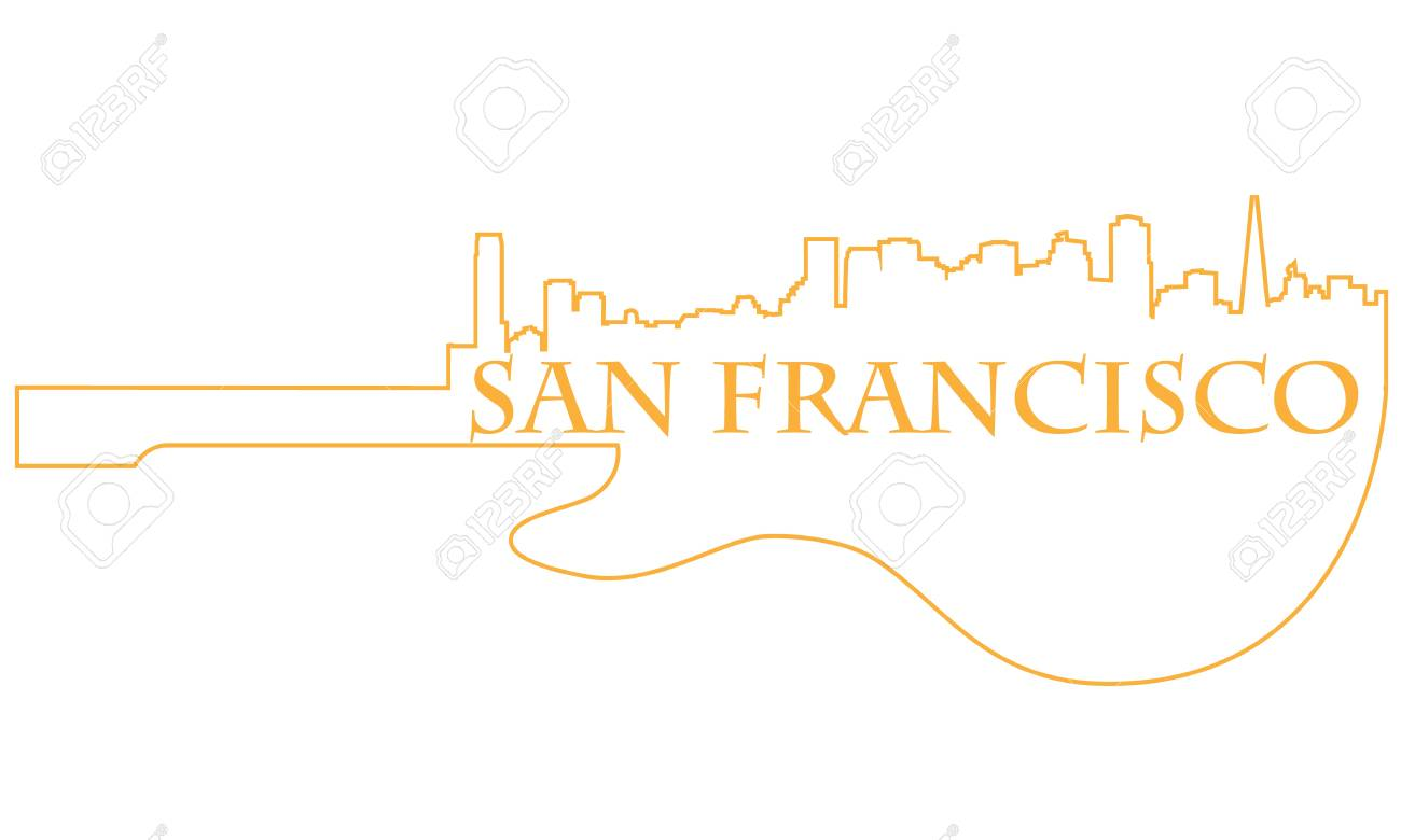 City of San Francisco high-rise buildings skyline with guitar Stock Vector - 13626137