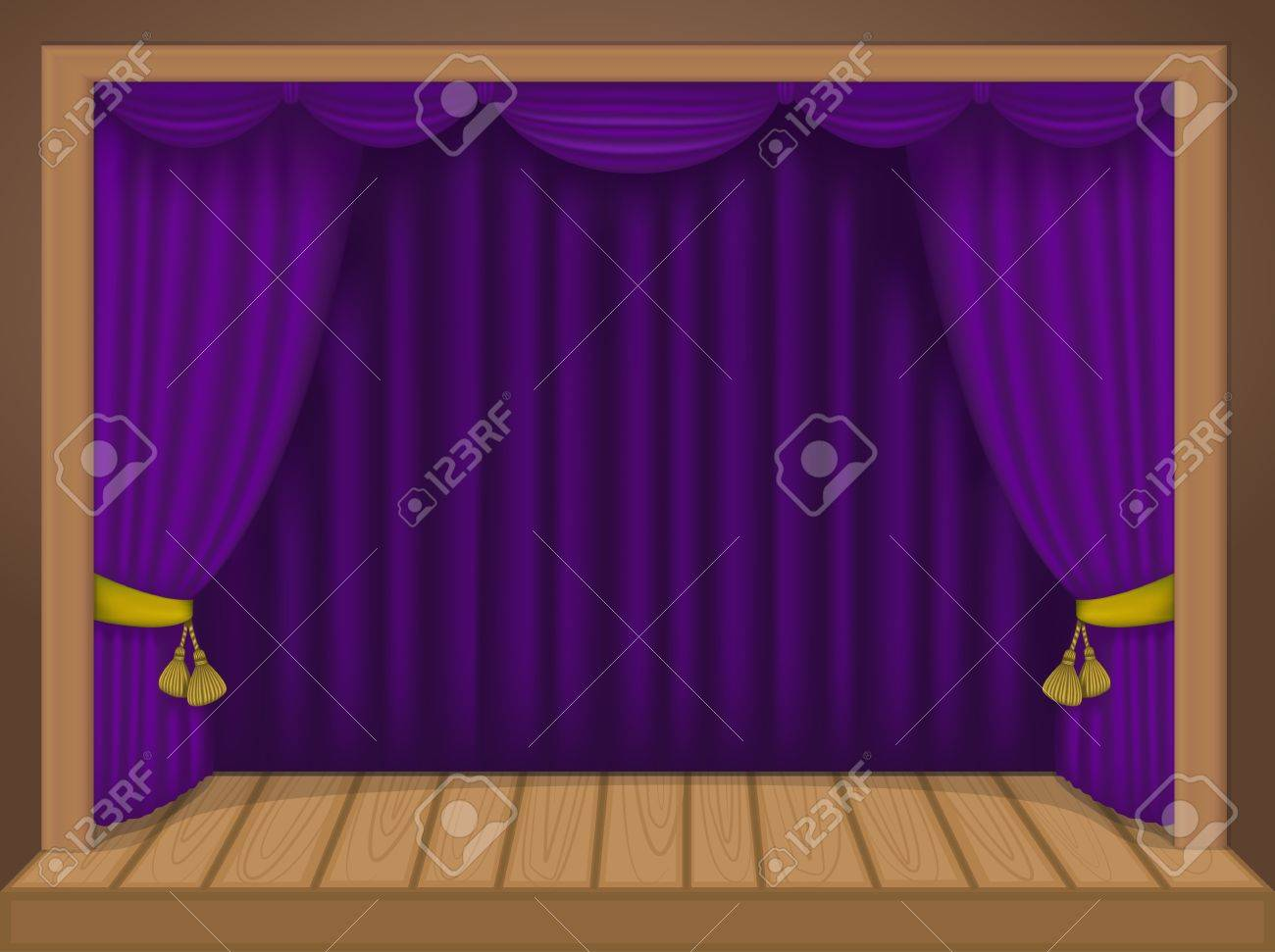 theater scene with rich draperies, curtains, wooden floor Stock Vector - 20830328