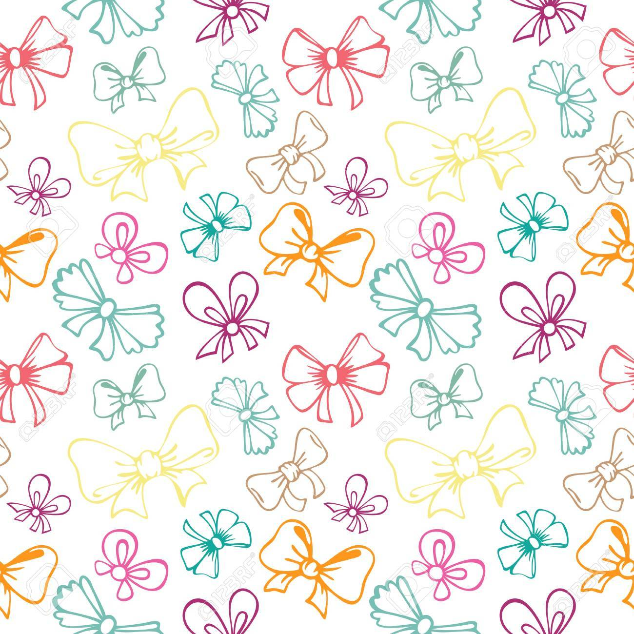 seamless pattern with contour gift bow, ribbon - 21061468