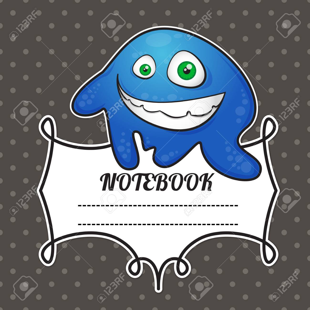 cover notebook with a frame for a name and a funny smiley monster Stock Vector - 21061540