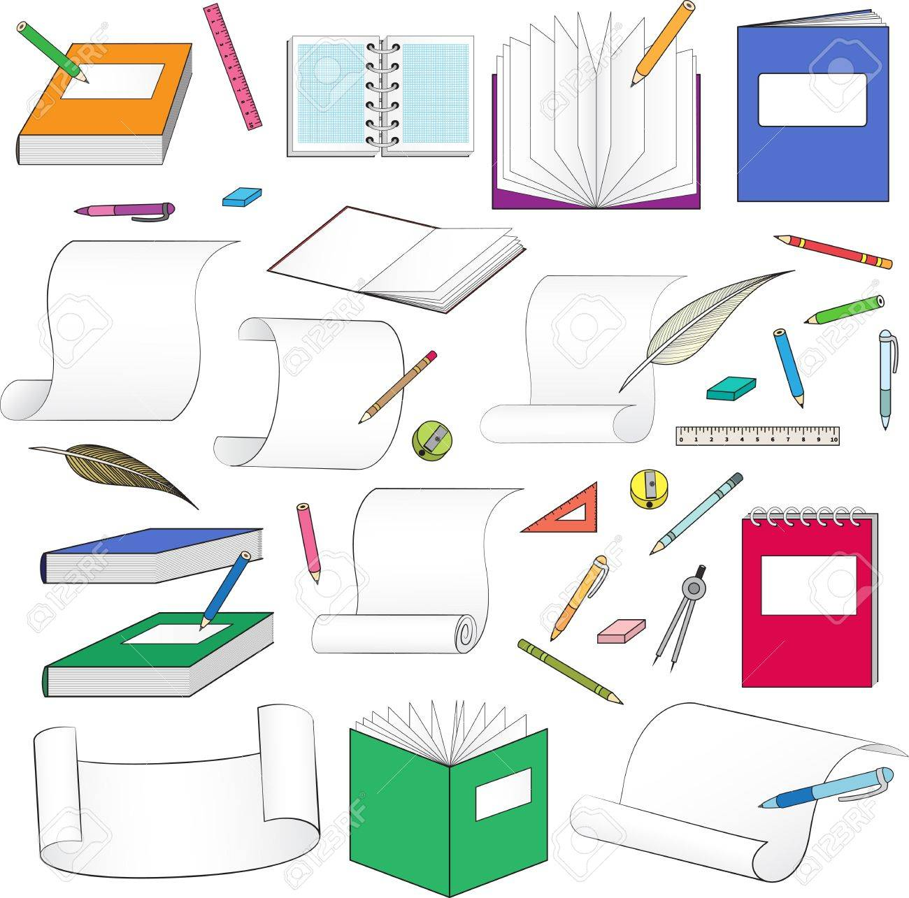 large set of stationery for school, office, paper and scrolls Stock Vector - 21423781