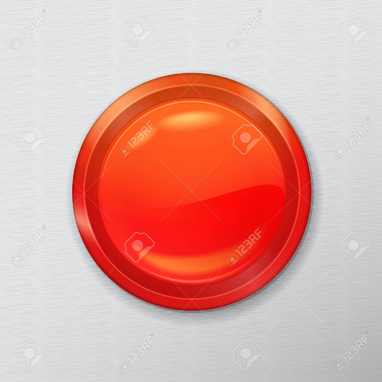 bright chrome realistic red button interface on a metal background Stock Vector - 21423820