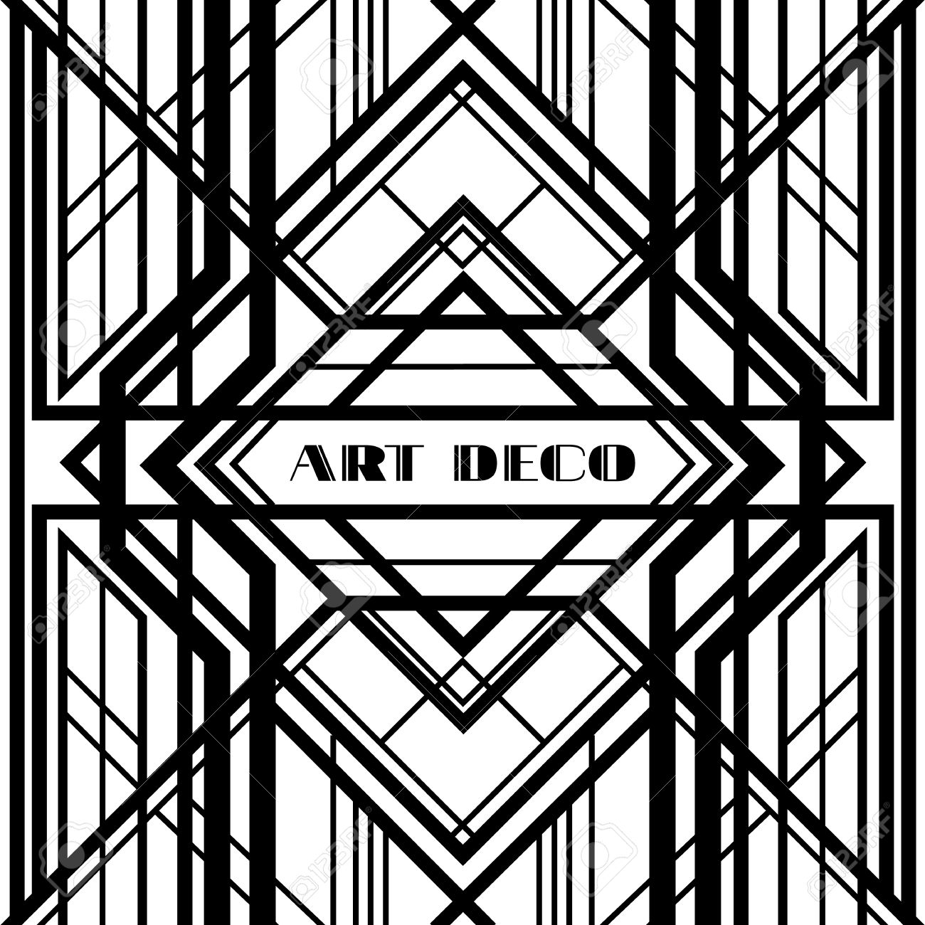 Art Deco Grille Metallic Abstract Geometric Pattern In The Style Stock Vector