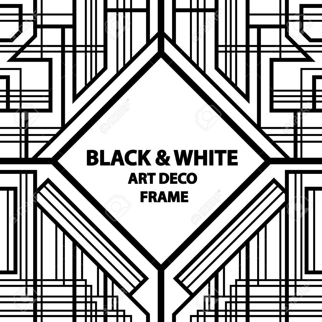 Deco Noir Et Blanc seamless pattern, geometric pattern, art deco with intertwined..