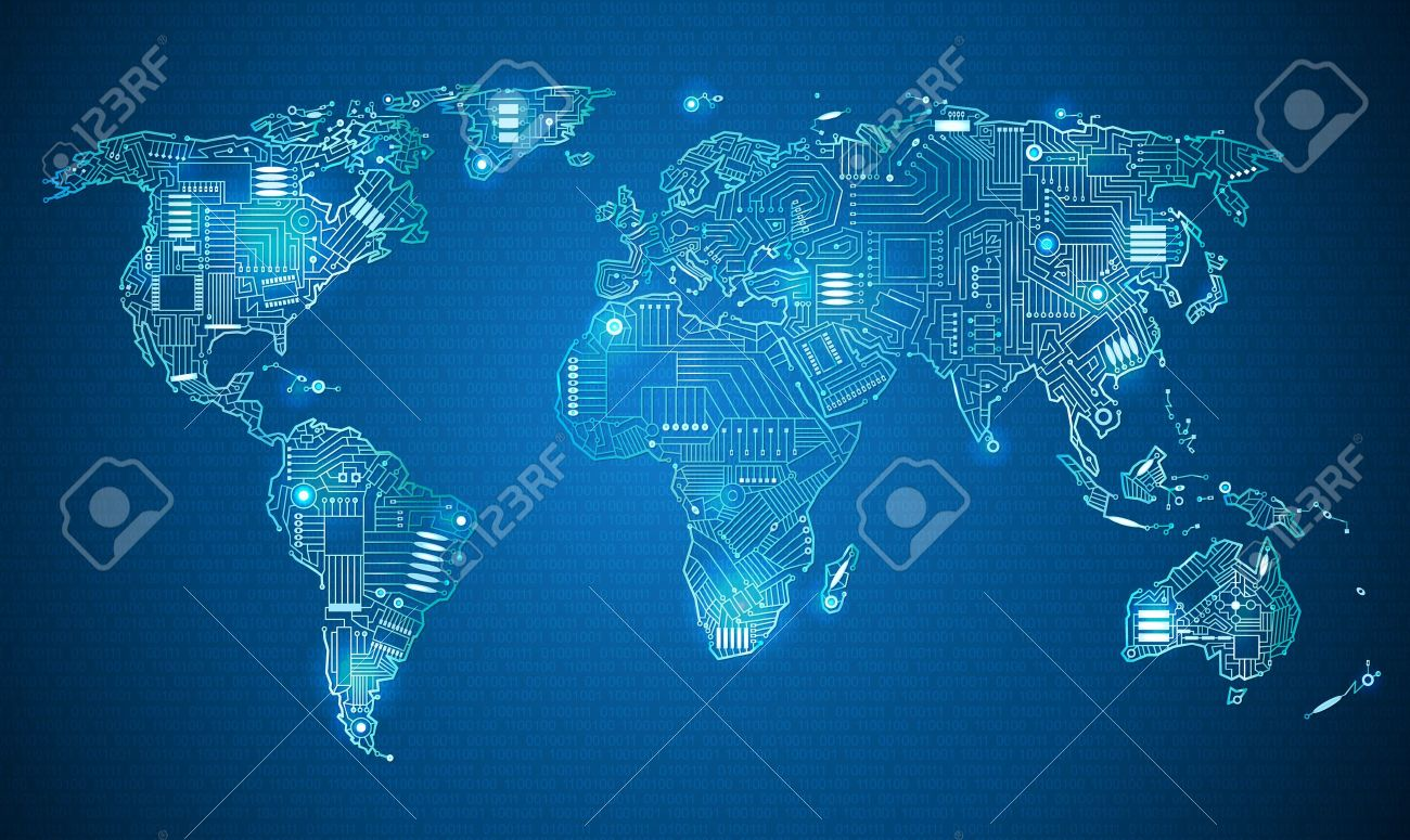 World map technology style digital world with electronic systems vector world map technology style digital world with electronic systems traveling anywhere in the world using the gadget white border on a blue gumiabroncs
